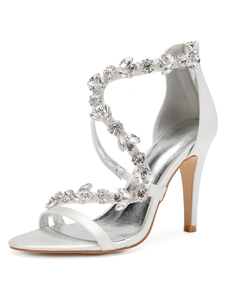 Milanoo Satin Wedding Shoes Purple Open Toe Rhinestones Zip Up Strappy High Heel Bridal Shoes