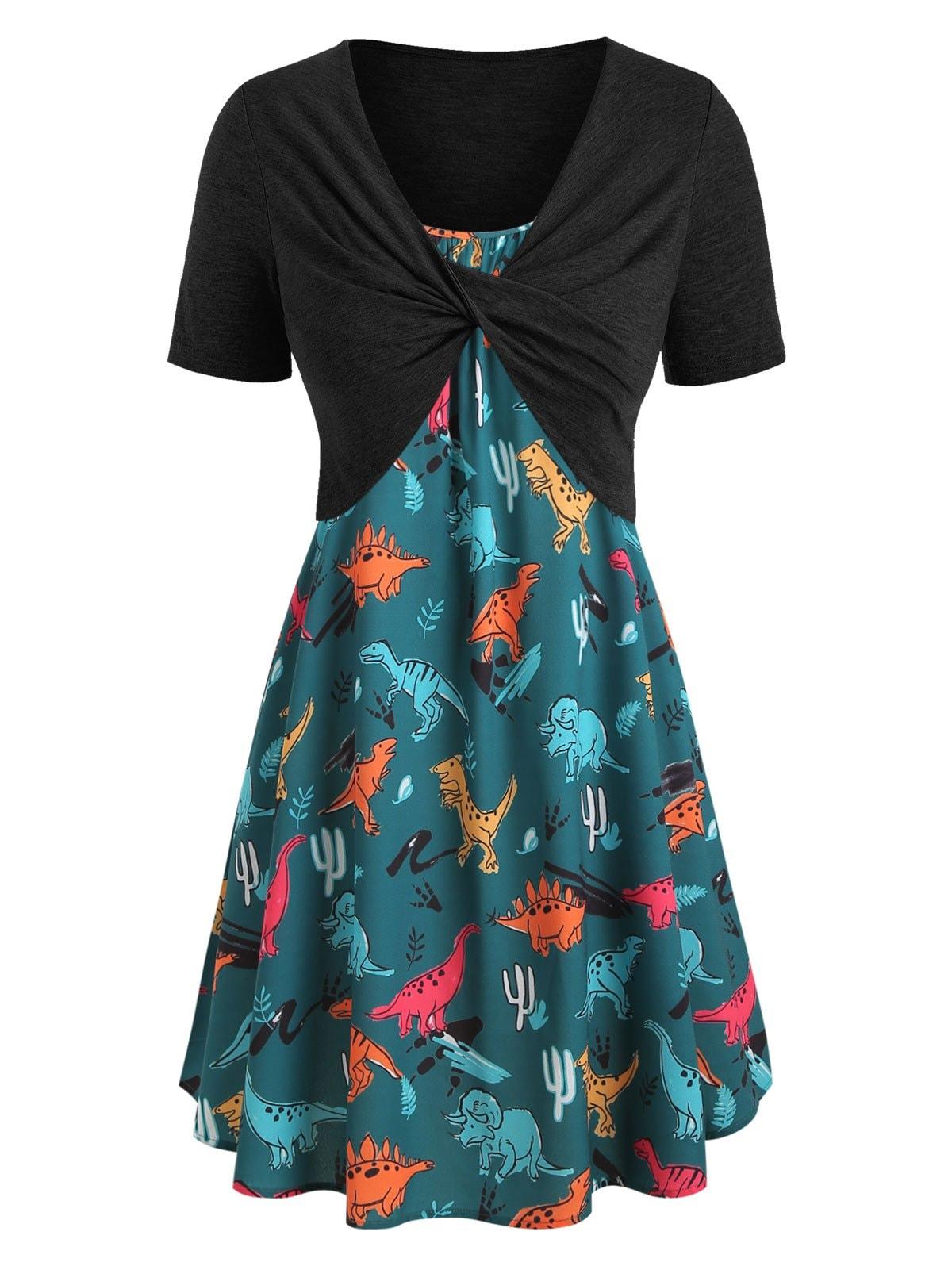 Plus Size Dinosaur Print Twist Two Piece Dress