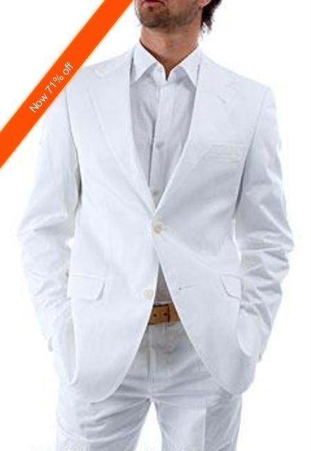 Mens 2Button White Suit and White Shirt