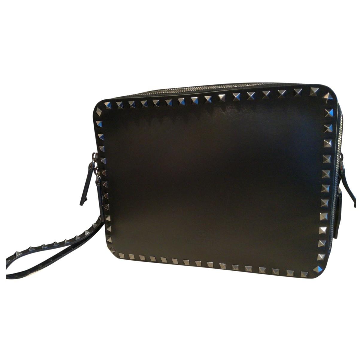 Valentino Garavani - Pochette Rockstud pour femme en cuir - noir