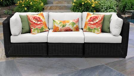 Venice Collection VENICE-03c-WHITE 3-Piece Patio Sofa with 2 Corner Chairs and 1 Armless Chair - Wheat and Sail White