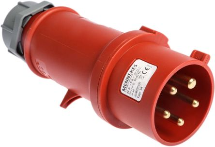 MENNEKES , StarTOP IP44 Red Cable Mount 5P Industrial Power Plug, Rated At 32.0A, 400 V