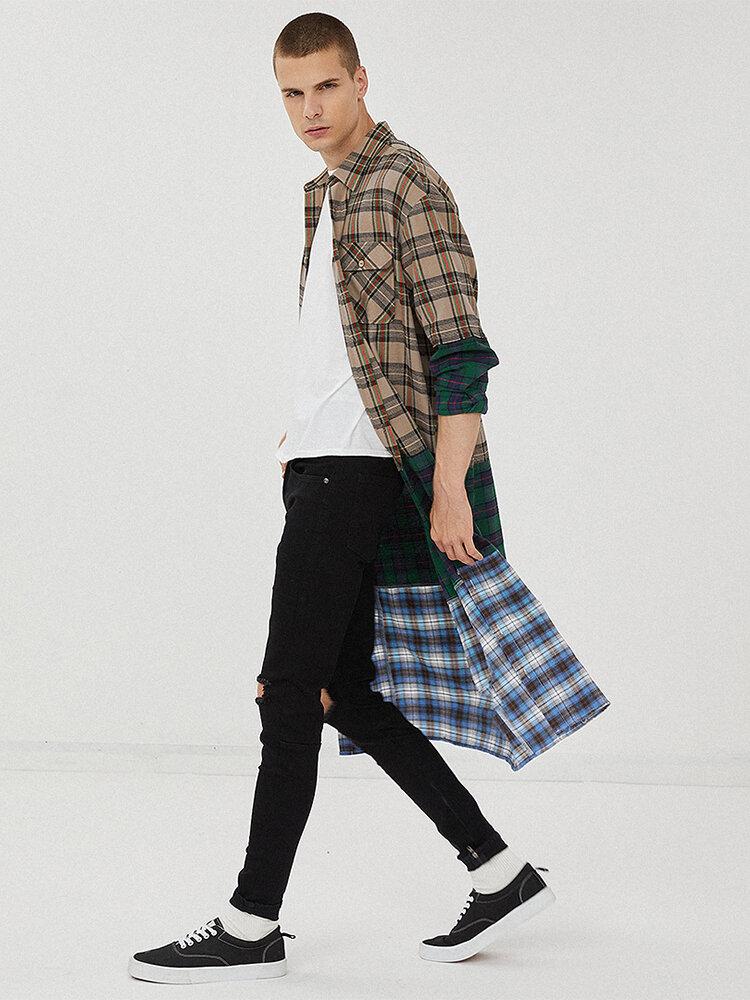 Mens 100% Cotton Plaid Patchwork Mid Length Long Sleeve Lapel Shirts