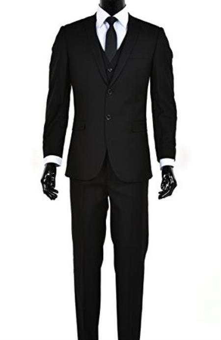 Men's 2 Button Single Breasted Black Notch Lapel Slim Fit Vested Suit