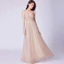 Plunging Neck Ruched Bodice Mesh Prom Dress