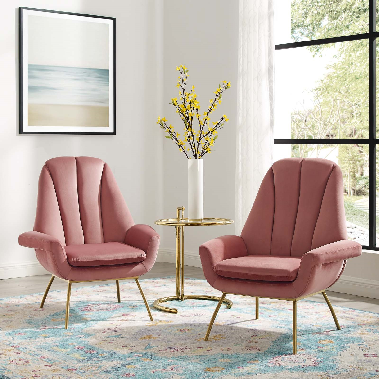 Summit Armchair Performance Velvet Set of 2 in Dusty Rose