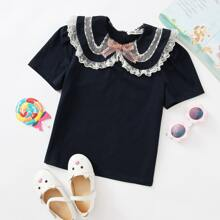 Girls Bow Front Embroidery Mesh Trim Top