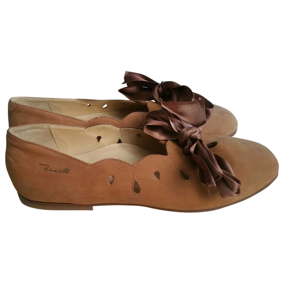 Non Signé / Unsigned \N Camel Leather Ballet flats for Women 36 EU