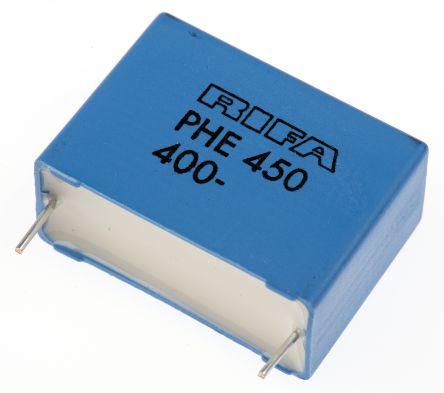 KEMET 1μF Polypropylene Capacitor PP 250 V ac, 400 V dc ±5% Tolerance Through Hole PHE450 Series (5)