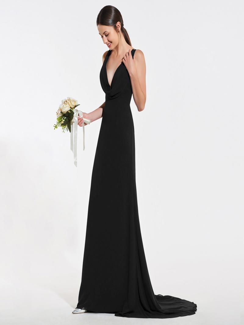 Ericdress A Line V Neck Chffon Long Bridesmaid Dress