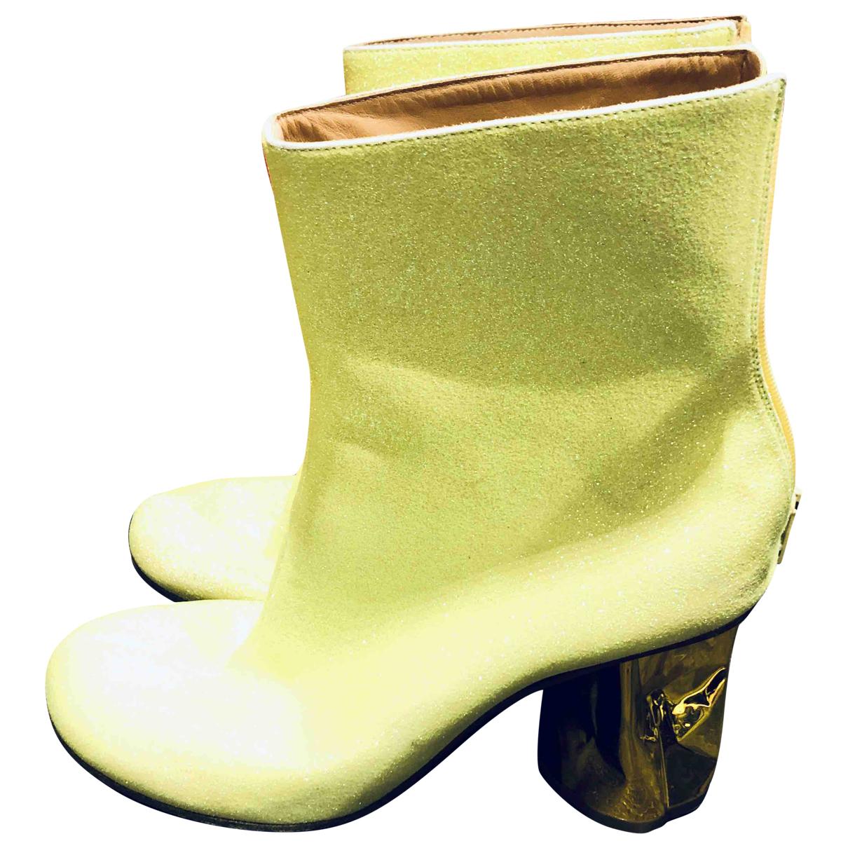 Maison Martin Margiela - Boots   pour femme en a paillettes - jaune