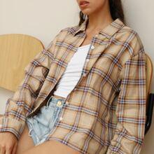 Drop Shoulder Plaid Shirt