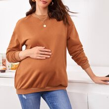 Maternity Einfarbiges Sweatshirt mit sehr tief angesetzter Schulterpartie