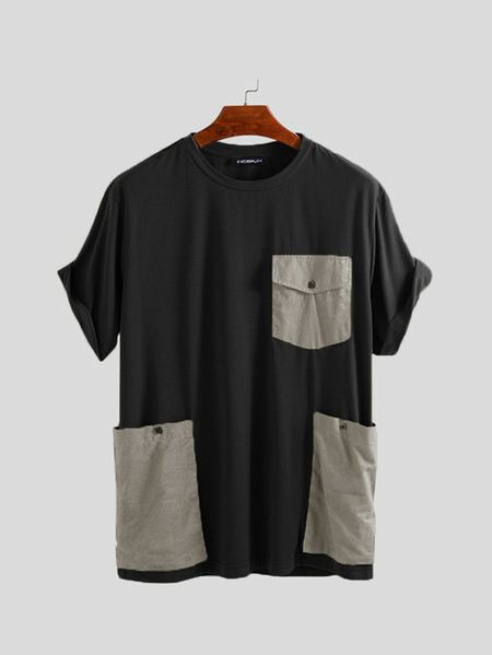 Yoins INCERUN Men Korean Stlye Summer Color Block Patchwork Panel Personalized Pocket Round Neck T-shirt