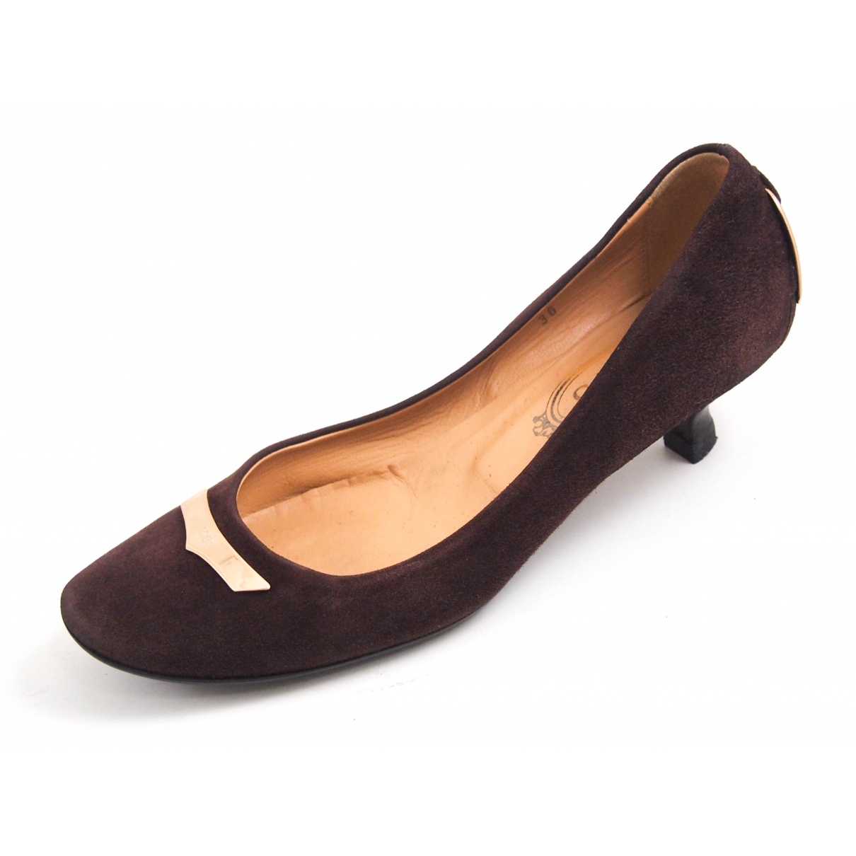 Tod's N Brown Suede Heels for Women 36 EU