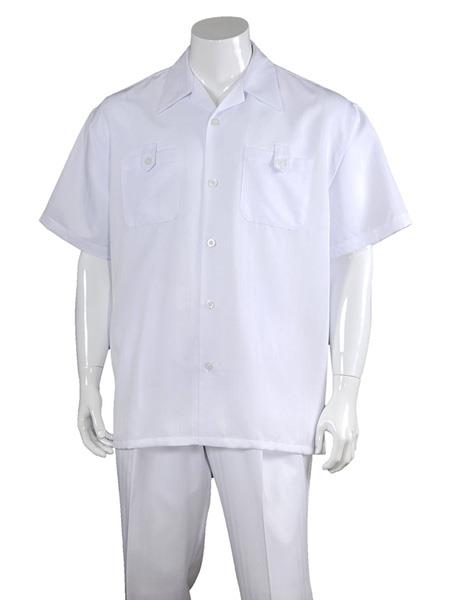 Men's Solid 100% Polyester 5 Button Short Sleeve Walking Suits White