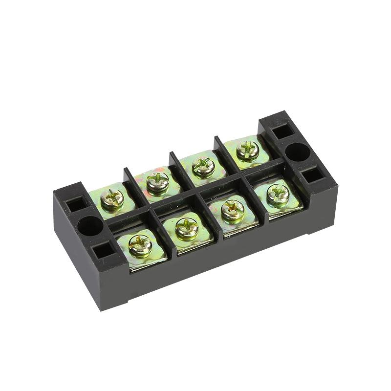 TB4504 600V 45A 4 Position Terminal Block Barrier Strip Dual Row Screw Block Covered W/ Removable Clear Plastic Insulati
