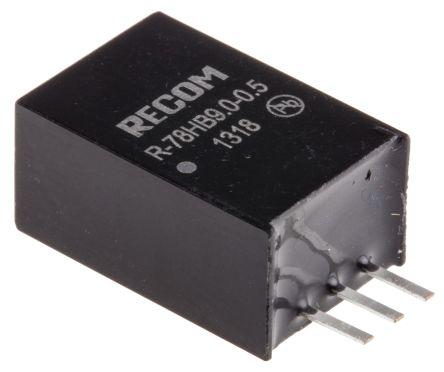 Recom Through Hole Switching Regulator, 9V dc Output Voltage, 14 → 72V dc Input Voltage, 500mA Output Current