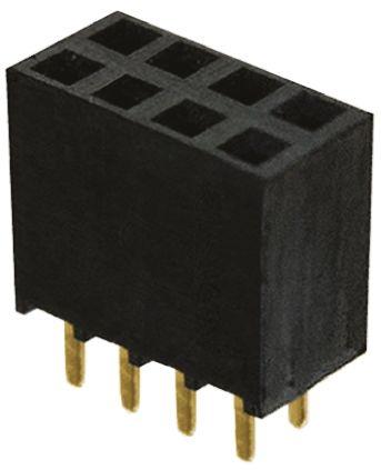 Samtec , SSW 2.54mm Pitch 8 Way 2 Row Straight PCB Socket, Through Hole, Solder Termination