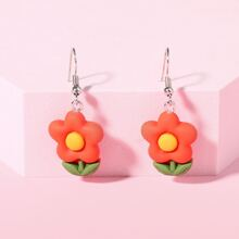 Toddler Girls Flower Drop Earrings