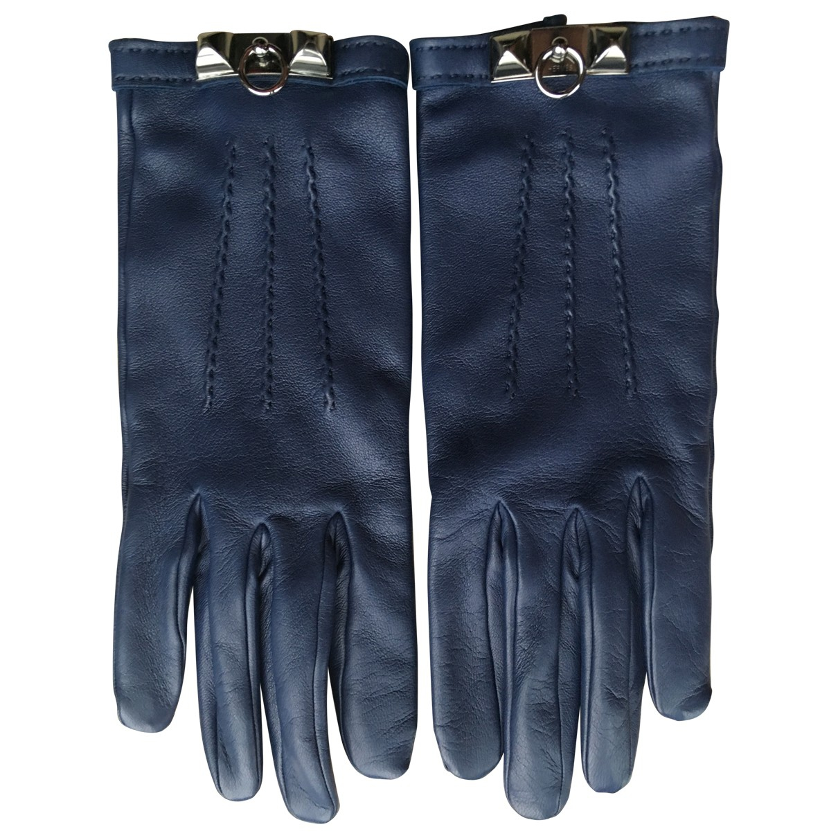 Hermès \N Blue Leather Gloves for Women 6.5 Inches