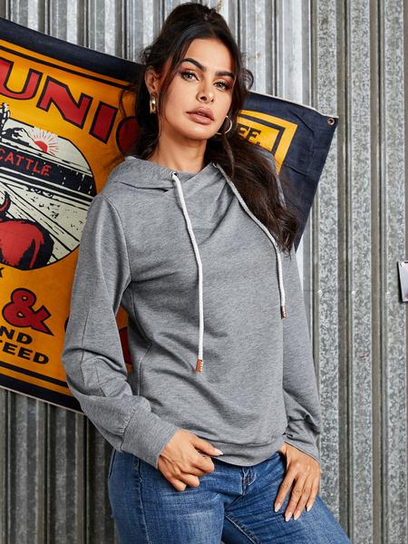 YOINS Grey Drawstring Design Long Sleeves Hoodie