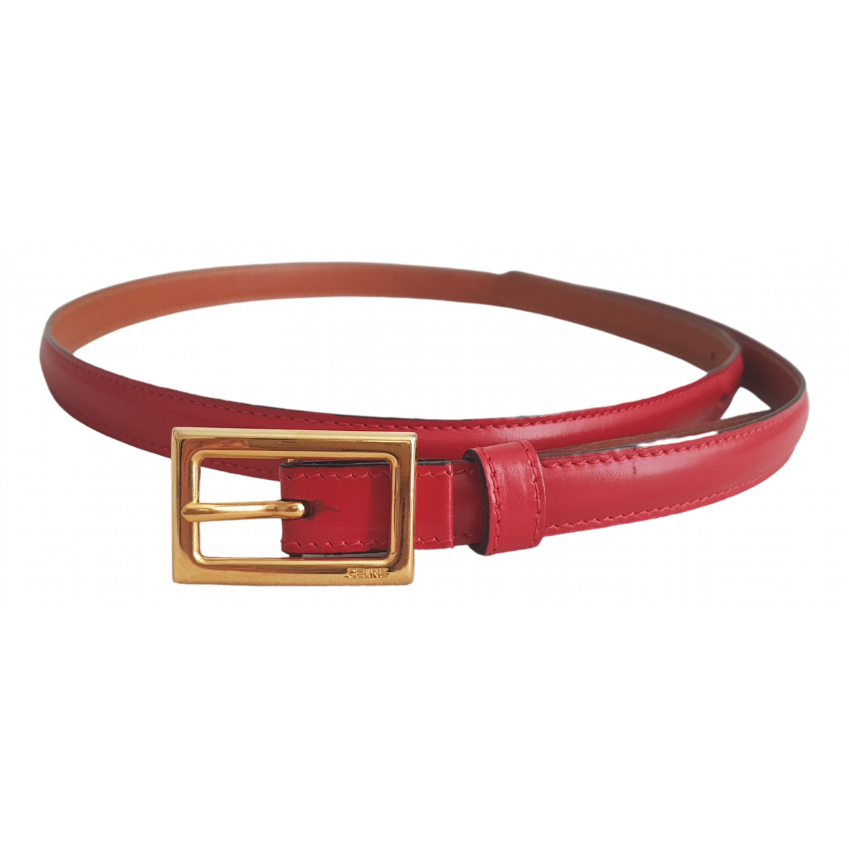 Celine Triomphe Red Leather belt for Women 80 cm
