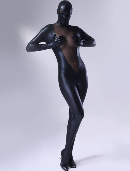 Milanoo Morph Suit Sexy Black Bodysuit Shiny Metallic Catsuit Women's Full Body Suit