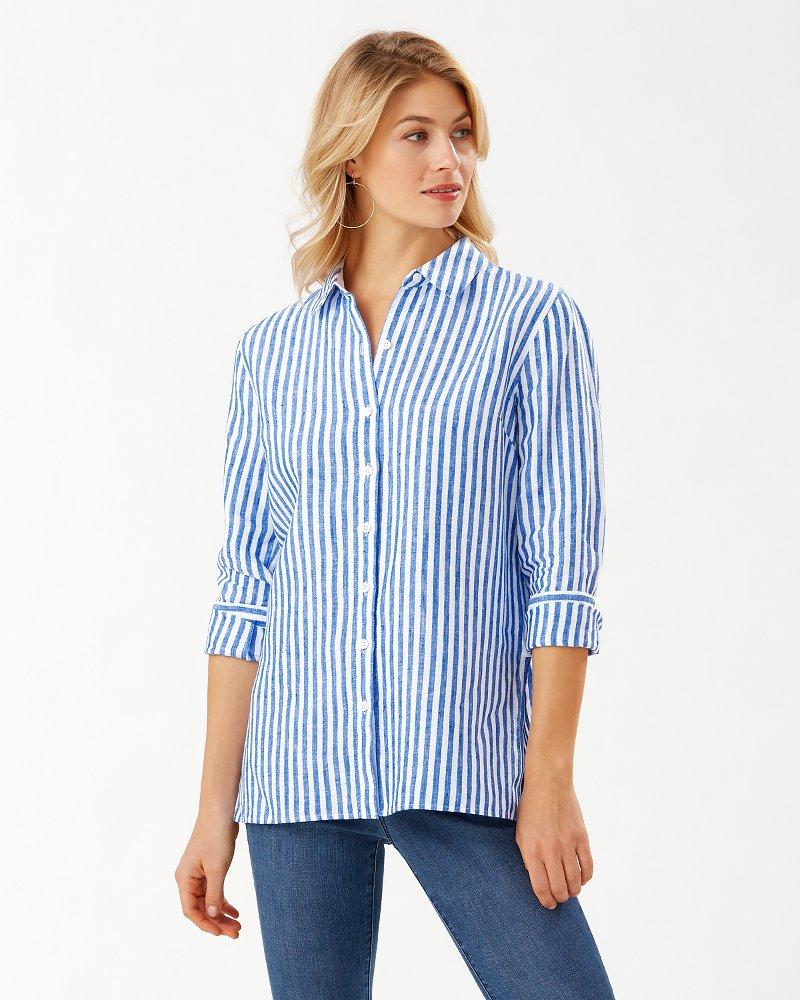 Coastalina Cabana Stripe Linen Shirt
