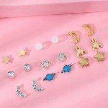9pairs Girls Star Shaped Stud Earrings