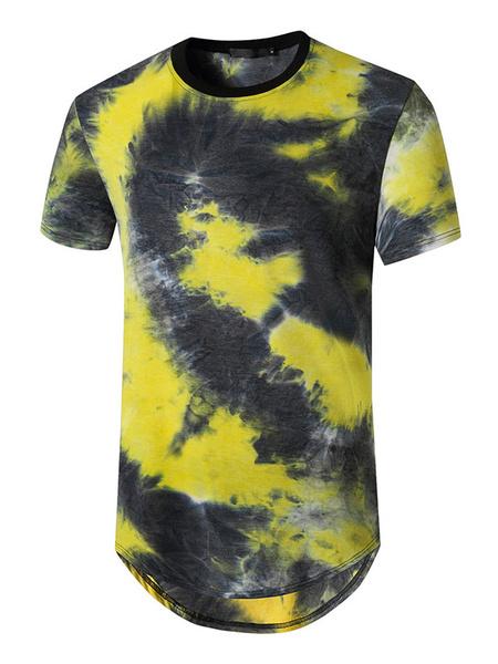 Milanoo T Shirts Ombre Casual Jewel Neck Short Sleeves Tee