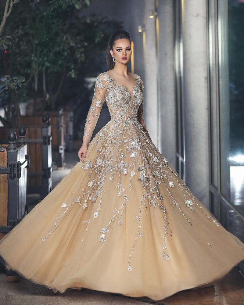 Robe de soiree glamour en tulle a manches longues avec appliques en dentelle BA8501