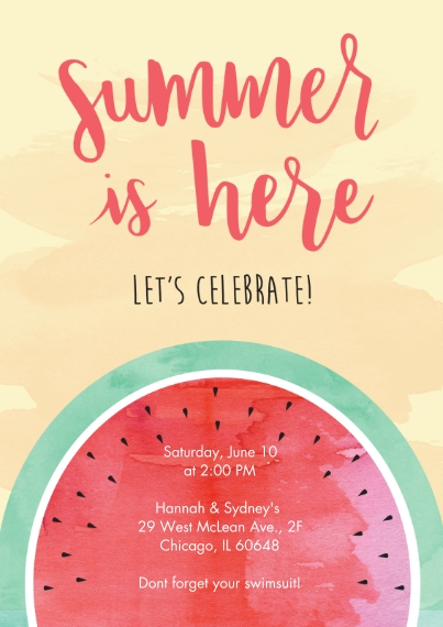 Summer Party Invitations Flat Matte Photo Paper Cards with Envelopes, 5x7, Card & Stationery -Watermelon Fun