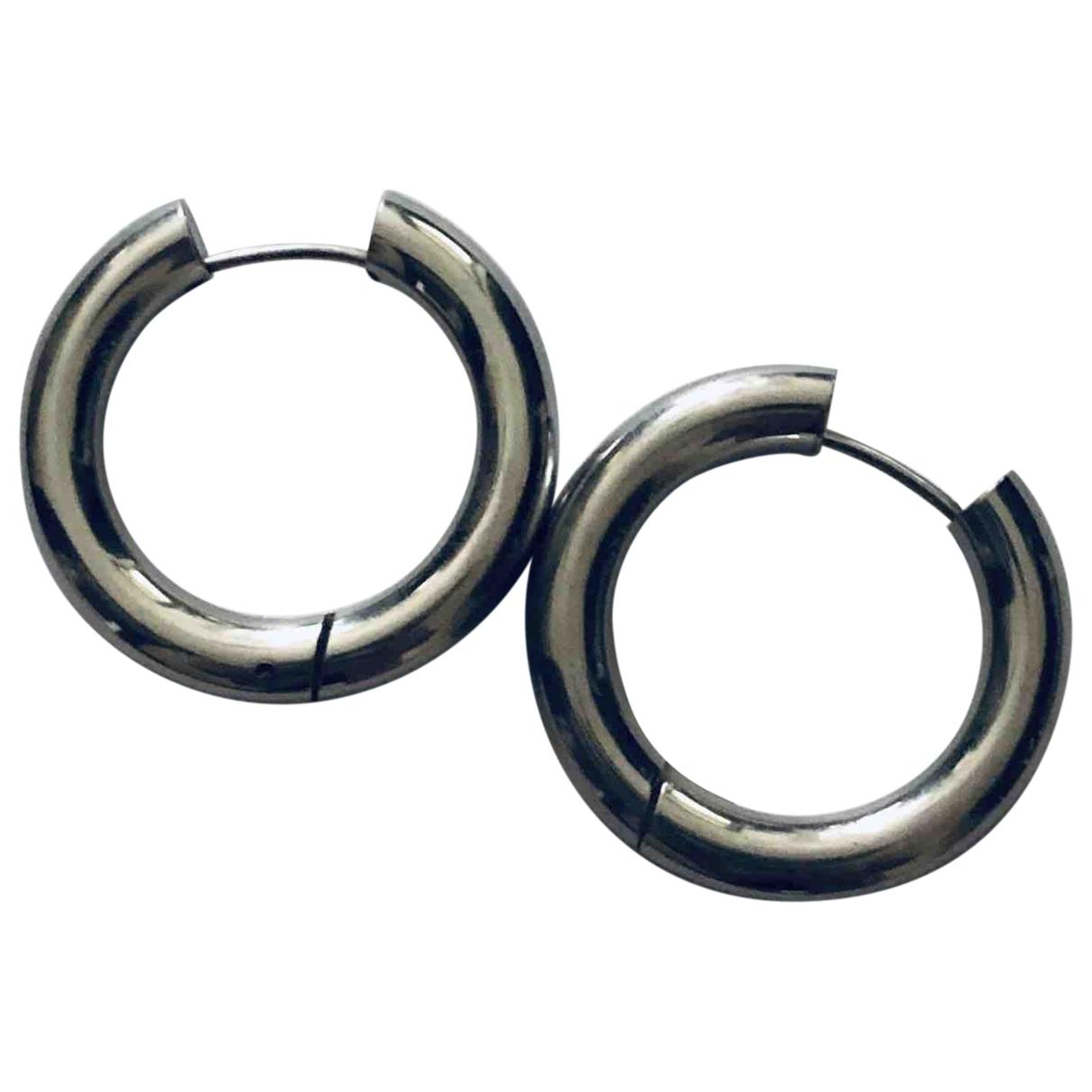 - Boucles doreilles Creoles pour femme en metal - argente