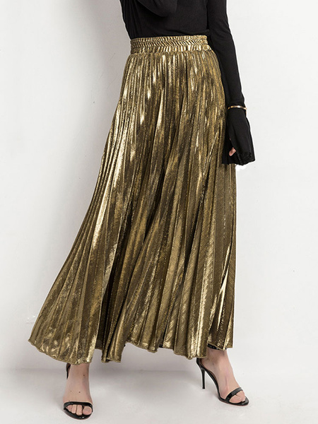 Milanoo Skirt For Women Silver Pleated Stripes Glamour A Long Raised Waist Layered Casual
