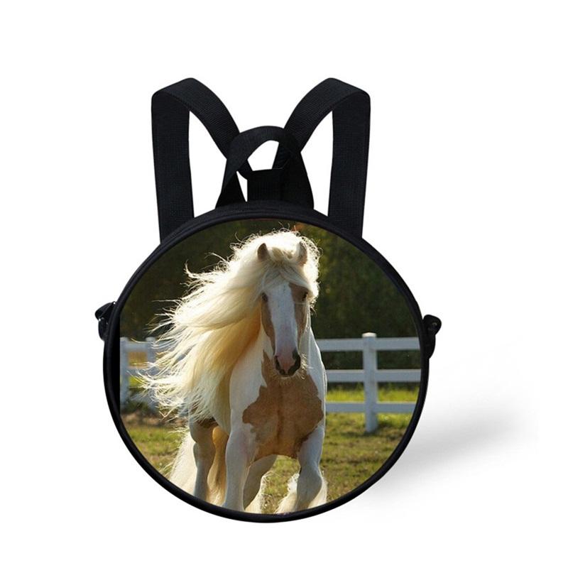 Round 3D Horse Running Pattern School Bag Shoulders Backpack
