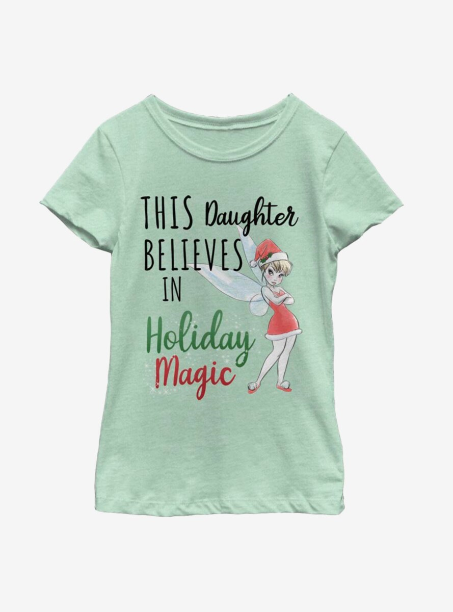 Disney Tinker Bell Believes In Holiday Magic Daughter Youth Girls T-Shirt