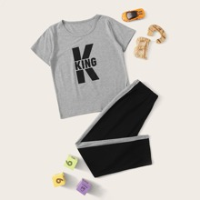 Vielfarbig Buchstaben  Laessig Jungen Loungewear