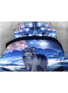 Mountain Wolf Printed Cotton 3D 4-Piece Bedding Sets/Duvet Covers