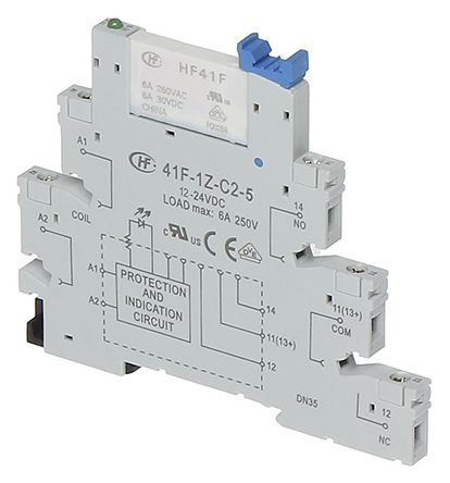 Hongfa Europe GMBH 41F Series , 12V dc CO Interface Relay Module, DIN Rail