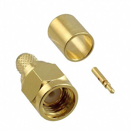Cinch Connectors , SMA Straight 50Ω Cable Mount Coaxial Connector, Plug, Gold over Nickel, Crimp Termination, HPF 195,