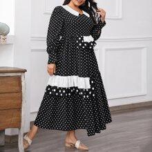 Maxi Kleid mit Punkten Muster, Falten und Rueschenbesatz