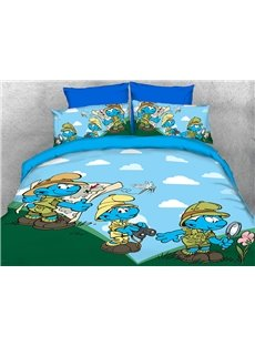Nature Watcher Smurfs and Dragonfly Twin 3-Piece Kids Bedding Sets
