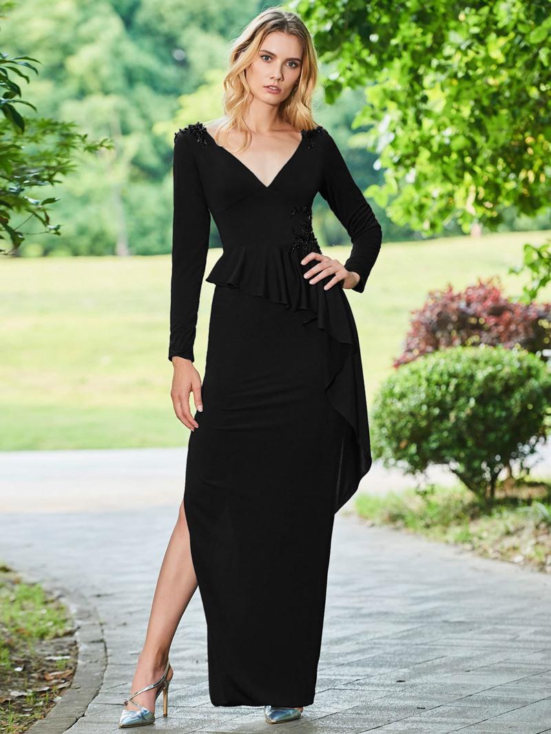 Ericdress Sheath Long Sleeve Evening Dress With Beadings