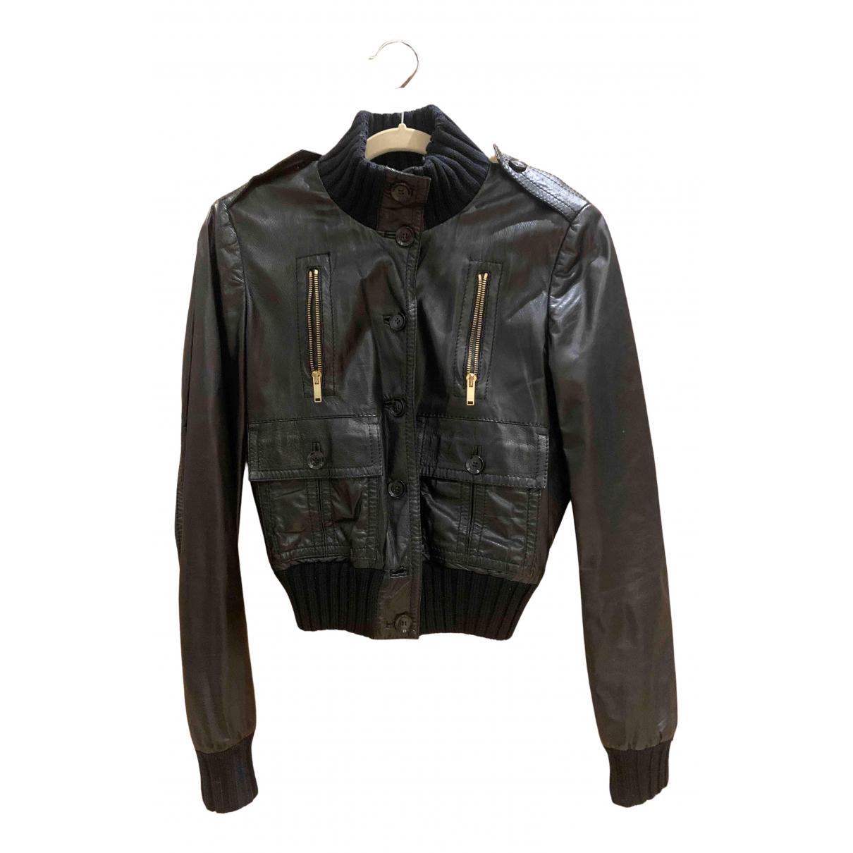 Gucci - Blouson   pour femme en cuir - noir