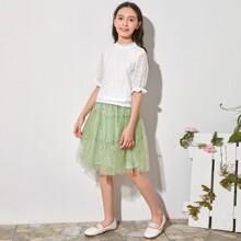 Girls Keyhole Back Lace Top & Frill Trim Tulle Skirt Set