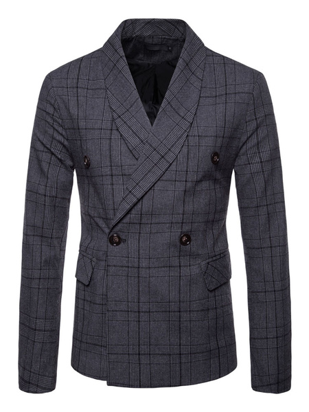 Milanoo Blazer For Men Plus Size 1950s Chaqueta de traje cruzado con cuello redondo de solapa a cuadros Blazer informal