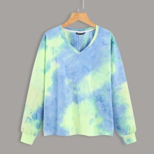 V-neck Tie Dye Print Sweatshirt