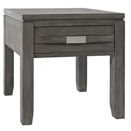 BM208460 Wooden End Table with Single Drawer and Metal Pulls  Light