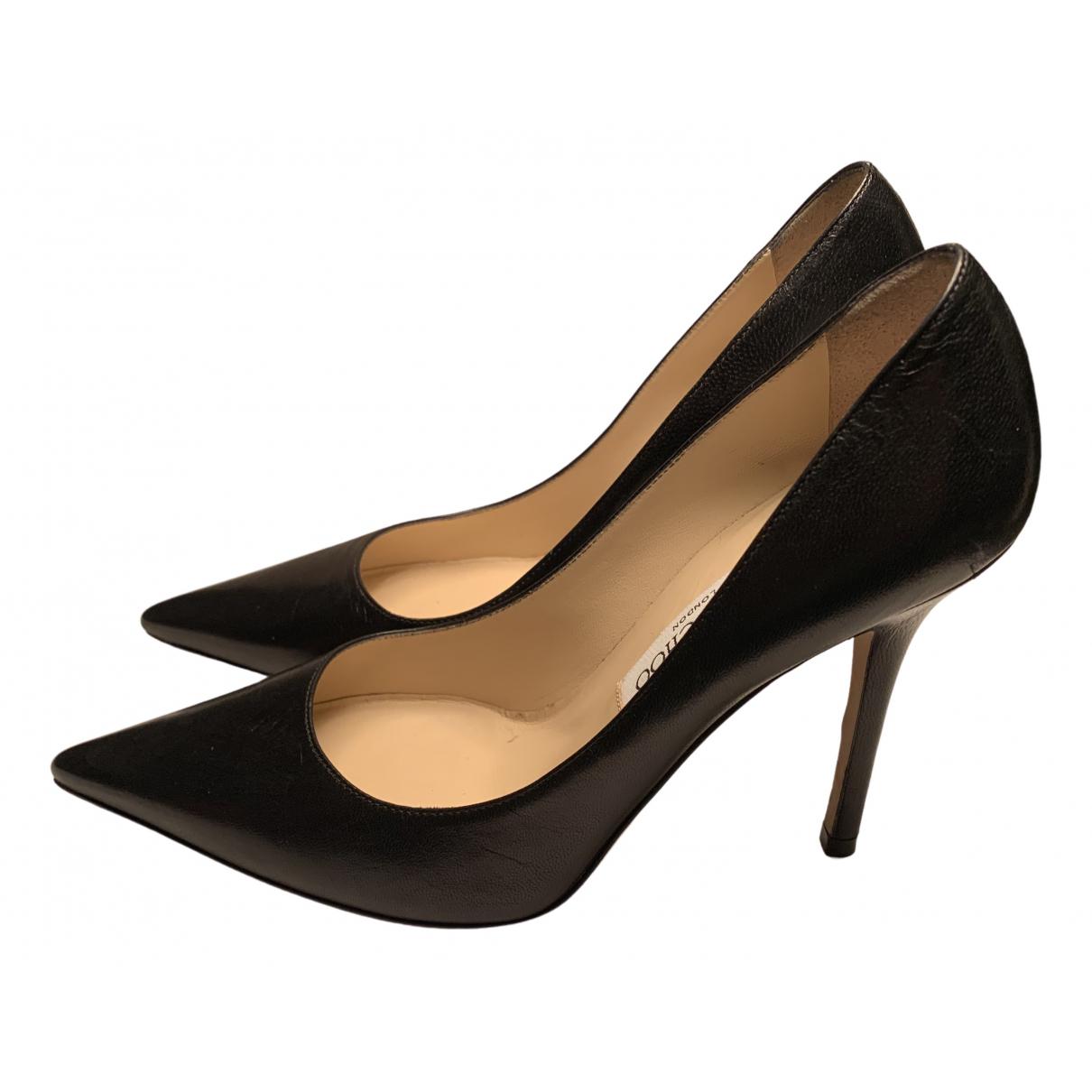 Jimmy Choo Romy Black Leather Heels for Women 37 EU